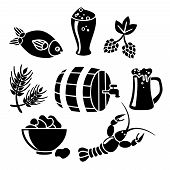 pic of lobster  - Decorative beer barrel restaurant cafe mug with fish lobster snacks black icons collection abstract vector isolated illustration - JPG