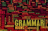 stock photo of verbs  - Grammar Learning Concept and Better English Art - JPG