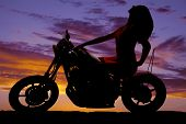 Silhouette Woman On Motorcycle Sit Lean Back Hand Forward