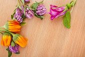 herbal flower heap on wooden surface top view with copy space background