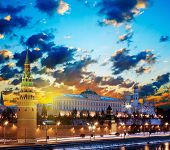 picture of winter palace  - Moscow Kremlin in fires by cold winter night - JPG