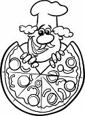 Italian Pizza Cartoon Coloring Page