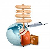 Two travel suitcases, a plane, a globe and a direction sign.