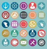 Vector icons set with flat design style