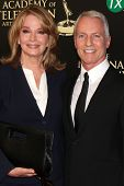 LOS ANGELES - JUN 22:  Deidre Hall, Greg Meng at the 2014 Daytime Emmy Awards Arrivals at the Beverl