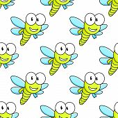 stock photo of googly-eyes  - Colorful cartoon flying dragon fly with big googly eyes seamless background pattern - JPG