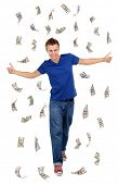 pic of dancing rain  - Happy man enjoying rain of money - JPG