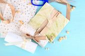 Beautiful handmade wedding cards on blue background
