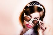 Surprised Retro Pop Art Girl Wearing Red Lipstick