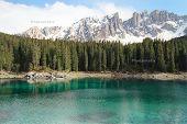 lake Carezza at Dolomites alps, Italy
