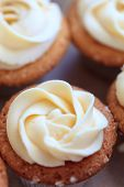 Cup-cake with vanilla butter-cream icing.
