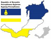 Outline Map Of Buryatia With Flag