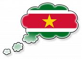 picture of suriname  - Flag in the cloud isolated on white background flag of Suriname - JPG