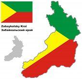 Outline Map Of Zabaykalsky Krai With Flag