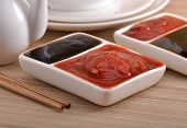 Sauces on the table , oyster sauce and tomato sauce