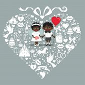Wedding  Elements In Hearts Composition With Baby Bride And Groom