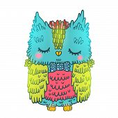 cute cartoon owl. vector animal illustration