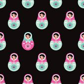 Seamless russian doll matryoshka illustration pattern print background in vector