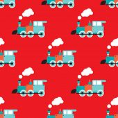 Seamless retro toy train illustration background pattern in vector