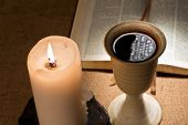 stock photo of chalice  - still life with bible and chalice ofwine - JPG