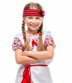 picture of national costume  - happy  little girl in the national Ukrainian costume isolated over white background - JPG