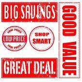 Big Savings , Low Price, Shop Smart, Great Deal, Good Value  Stamp