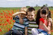 foto of happy kids  - children on meadow - JPG