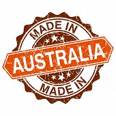 Made In Australia Vintage Stamp Isolated On White Background