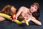 stock photo of garden snake  - Woman with a snake eating red apple on black - JPG