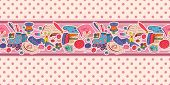 Horizontal seamless pattern with hobby items
