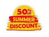 50 Percentages Off Summer Discount With Sun Sign, Drawn Label