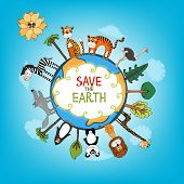 pic of save earth  - Save The Earth concept with a variety of wild animals surrounding the perimeter of a globe or planet with interspersed fresh green trees for nature conservation   hand - JPG
