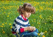 Child portrait on the background of dandelions