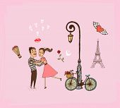 Romantic couple on a Paris vacation