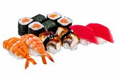 Nigiri Sushi And Rolls, Isolated On White
