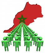 Lines of people with Morocco map flag illustration
