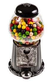 picture of gumball machine  - a bubble gum vending machine isolated over white background - JPG