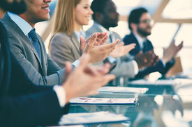 image of applause  - Hands of business partners applauding to reporter after listening to presentation at seminar - JPG