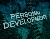 stock photo of self assessment  - Personal Development text concept on green digital world map background - JPG