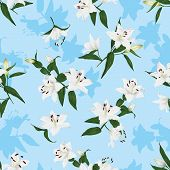 Hawaiian lilies blue seamless print