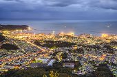 Otaru, Hokkaido, Japan town cityscape over Ishikari Bay.