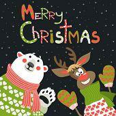 Reindeer and polar bear celebrating Christmas