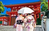 stock photo of japan girl  -  Japanese girls with Japanese traditional suit  - JPG