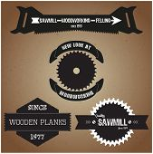 Collection Of Labels On The Theme Of Woodworking In Retro Vintage Style Vector