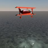 pic of biplane  - Red biplane flying over water 3d render - JPG
