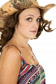 Cowgirl Close Colorful Tank Top Hair Blow Look