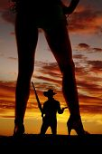 Silhouette Woman In Bikini Heels Legs One Turned To Side Cowboy