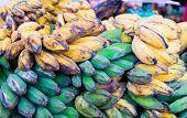 foto of malaysian food  - Fresh bananas in malaysian borneo market - JPG