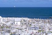 pic of san juan puerto rico  - Santa Maria Magdalena de Pazzis cemetery in Old San Juan Puerto Rico sits on top of the cliffs overlooking the Atlantic Ocean on a clear sunny day - JPG