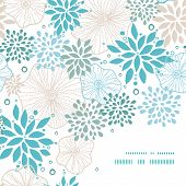 Vector blue and gray plants frame corner pattern background
